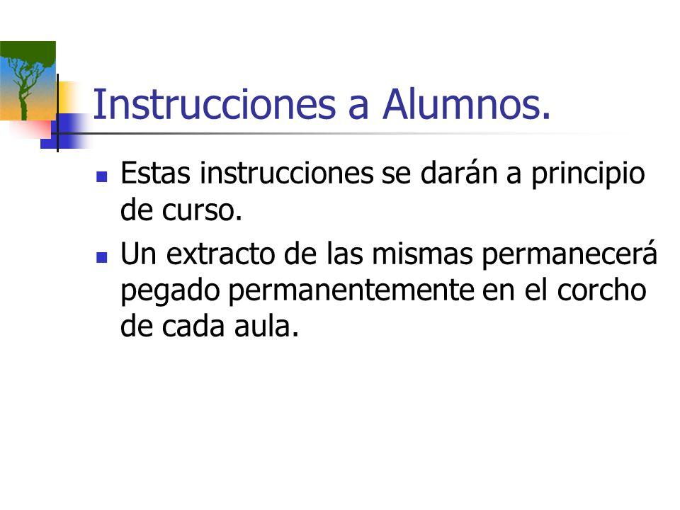 Instrucciones a Alumnos. Estas instrucciones se darán a principio de curso. Un extracto de las mismas permanecerá pegado permanentemente en el corcho