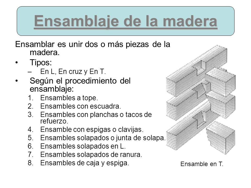 Ensamblaje de la madera Ensamblar es unir dos o más piezas de la madera. Tipos: –En L, En cruz y En T. Según el procedimiento del ensamblaje: 1.Ensamb