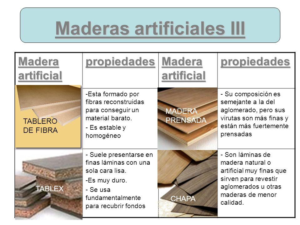 Maderas artificiales III Madera artificial propiedades propiedades -Esta formado por fibras reconstruidas para conseguir un material barato. - Es esta