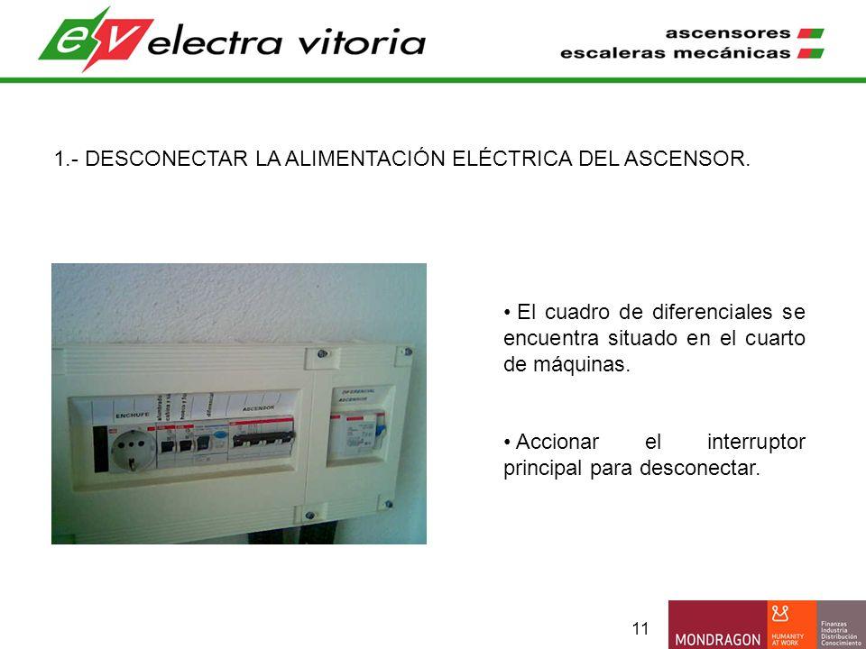 11 1.- DESCONECTAR LA ALIMENTACIÓN ELÉCTRICA DEL ASCENSOR. El cuadro de diferenciales se encuentra situado en el cuarto de máquinas. Accionar el inter