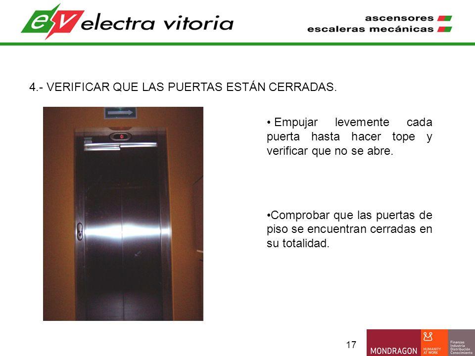 17 4.- VERIFICAR QUE LAS PUERTAS ESTÁN CERRADAS. Empujar levemente cada puerta hasta hacer tope y verificar que no se abre. Comprobar que las puertas