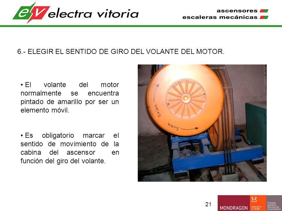 21 6.- ELEGIR EL SENTIDO DE GIRO DEL VOLANTE DEL MOTOR. El volante del motor normalmente se encuentra pintado de amarillo por ser un elemento móvil. E