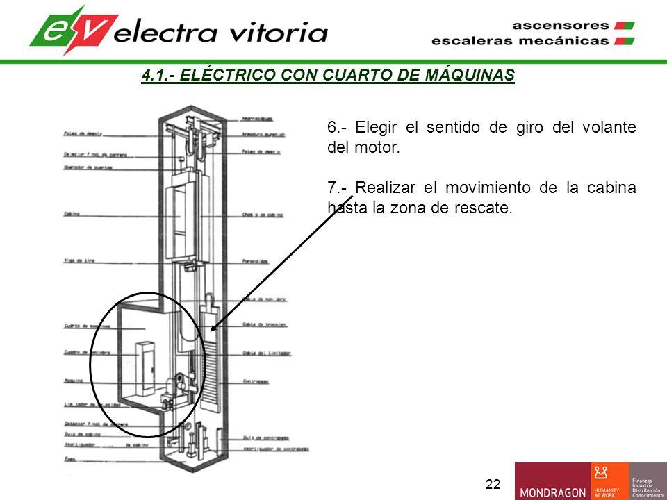 22 4.1.- ELÉCTRICO CON CUARTO DE MÁQUINAS 6.- Elegir el sentido de giro del volante del motor. 7.- Realizar el movimiento de la cabina hasta la zona d