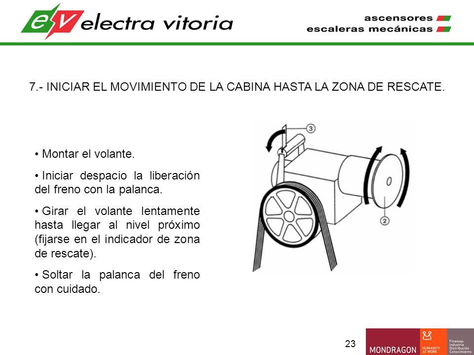 23 7.- INICIAR EL MOVIMIENTO DE LA CABINA HASTA LA ZONA DE RESCATE. Montar el volante. Iniciar despacio la liberación del freno con la palanca. Girar