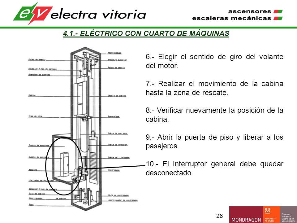 26 4.1.- ELÉCTRICO CON CUARTO DE MÁQUINAS 6.- Elegir el sentido de giro del volante del motor. 7.- Realizar el movimiento de la cabina hasta la zona d