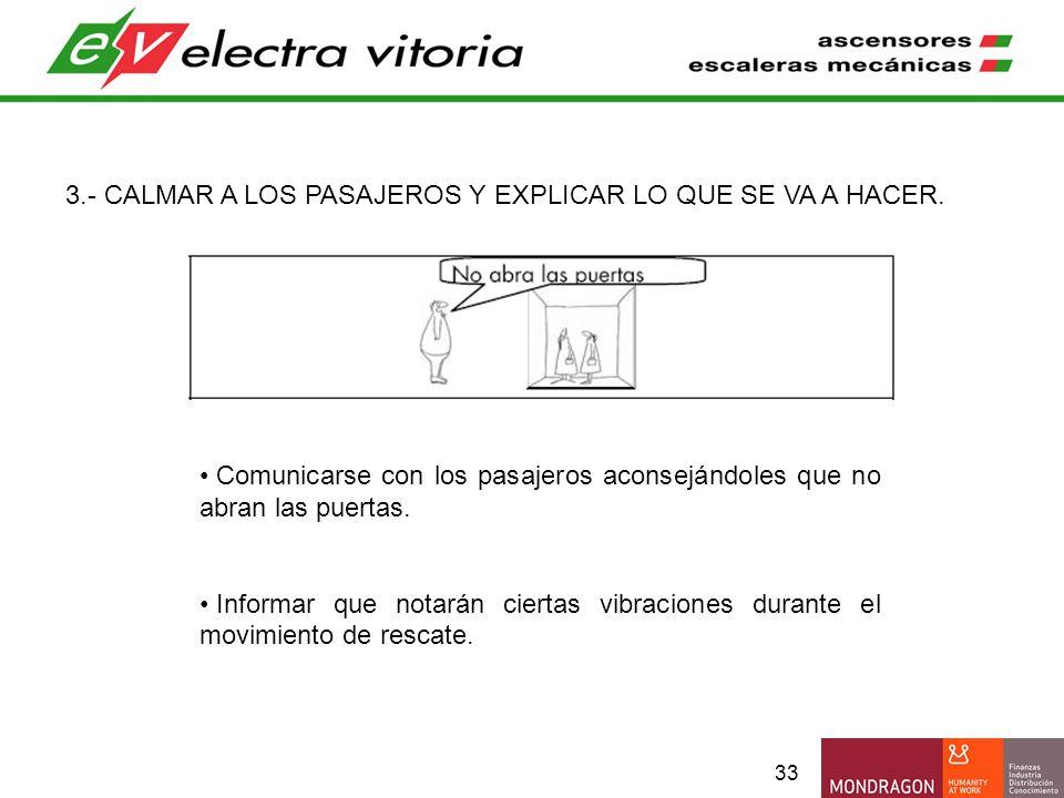 33 3.- CALMAR A LOS PASAJEROS Y EXPLICAR LO QUE SE VA A HACER. Comunicarse con los pasajeros aconsejándoles que no abran las puertas. Informar que not