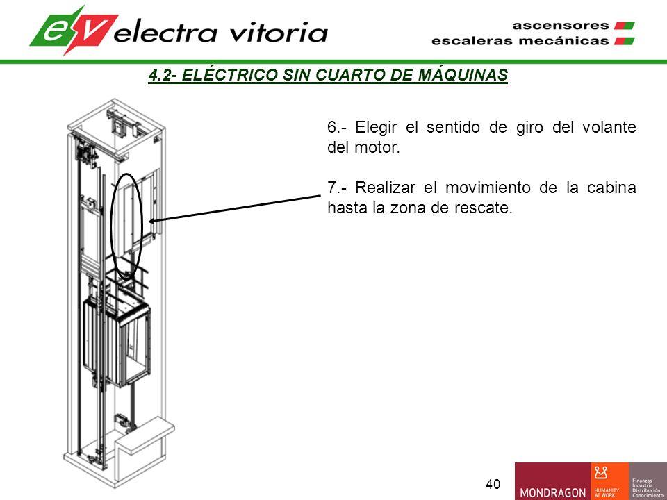 40 4.2- ELÉCTRICO SIN CUARTO DE MÁQUINAS 6.- Elegir el sentido de giro del volante del motor. 7.- Realizar el movimiento de la cabina hasta la zona de