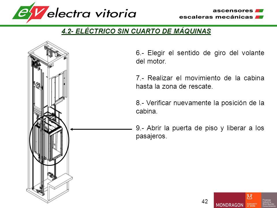 42 4.2- ELÉCTRICO SIN CUARTO DE MÁQUINAS 6.- Elegir el sentido de giro del volante del motor. 7.- Realizar el movimiento de la cabina hasta la zona de