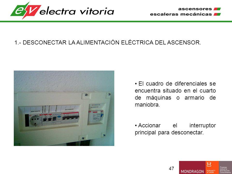 47 1.- DESCONECTAR LA ALIMENTACIÓN ELÉCTRICA DEL ASCENSOR. El cuadro de diferenciales se encuentra situado en el cuarto de máquinas o armario de manio