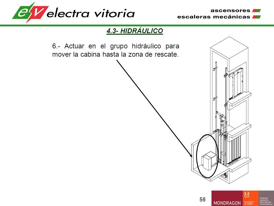 56 4.3- HIDRÁULICO 6.- Actuar en el grupo hidráulico para mover la cabina hasta la zona de rescate.
