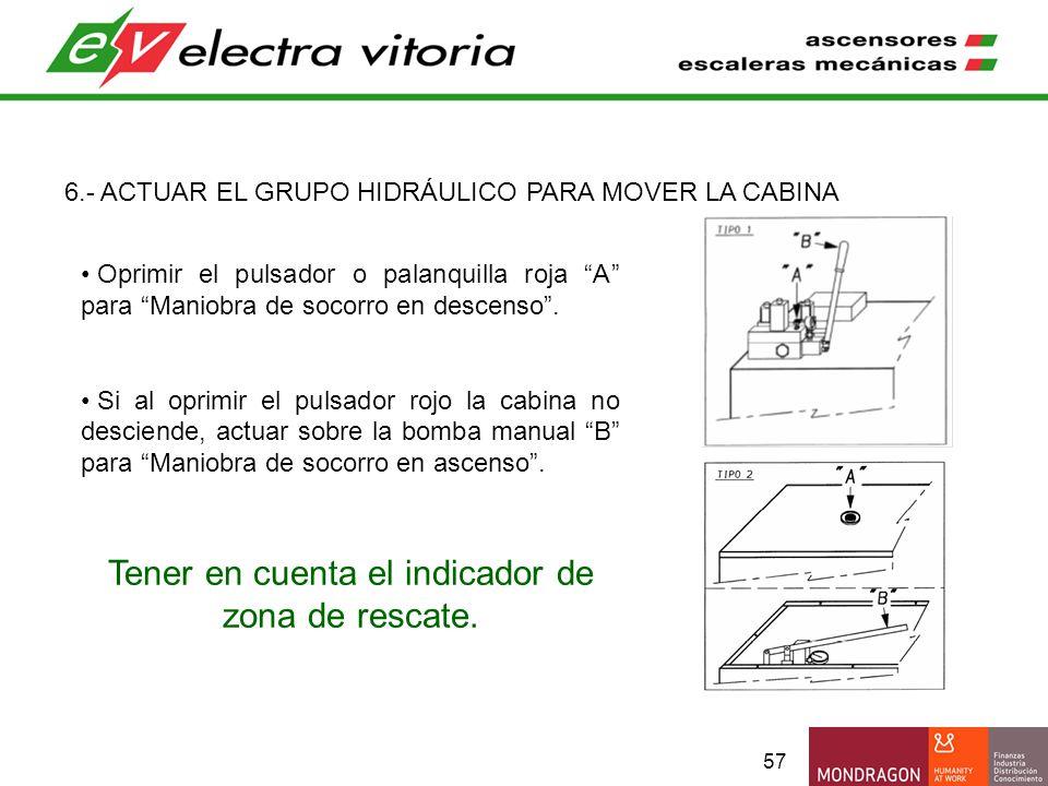57 6.- ACTUAR EL GRUPO HIDRÁULICO PARA MOVER LA CABINA Oprimir el pulsador o palanquilla roja A para Maniobra de socorro en descenso. Si al oprimir el