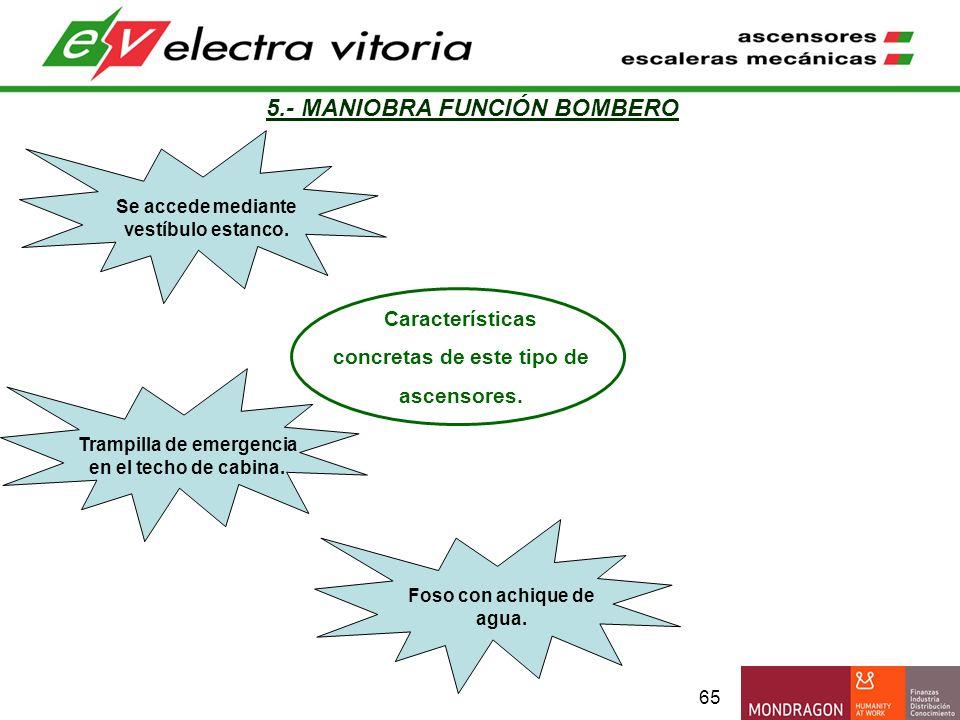 65 5.- MANIOBRA FUNCIÓN BOMBERO Características concretas de este tipo de ascensores. Trampilla de emergencia en el techo de cabina. Foso con achique