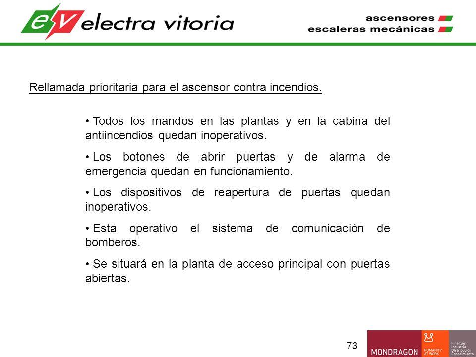 73 Rellamada prioritaria para el ascensor contra incendios. Todos los mandos en las plantas y en la cabina del antiincendios quedan inoperativos. Los