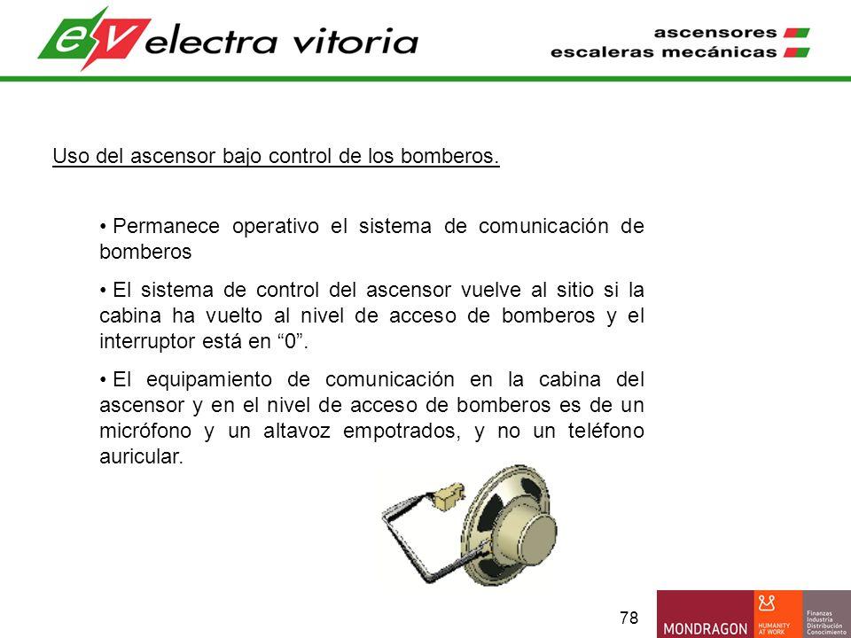 78 Uso del ascensor bajo control de los bomberos. Permanece operativo el sistema de comunicación de bomberos El sistema de control del ascensor vuelve