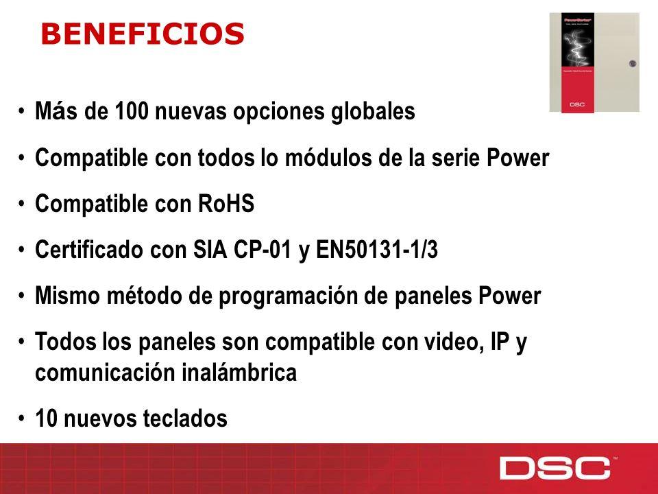 M á s de 100 nuevas opciones globales Compatible con todos lo módulos de la serie Power Compatible con RoHS Certificado con SIA CP-01 y EN50131-1/3 Mi