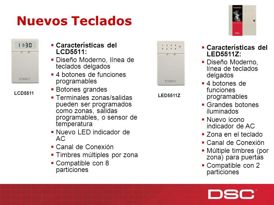 Características del LCD5511: Diseño Moderno, línea de teclados delgados 4 botones de funciones programables Botones grandes Terminales zonas/salidas p