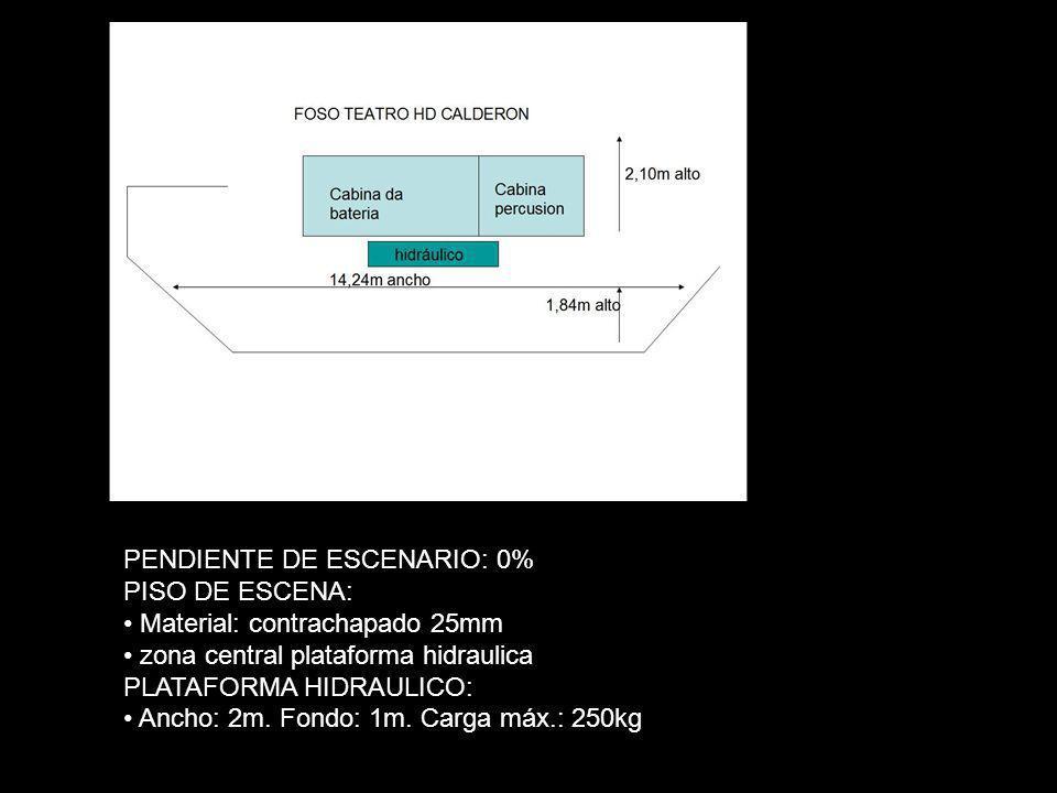 PENDIENTE DE ESCENARIO: 0% PISO DE ESCENA: Material: contrachapado 25mm zona central plataforma hidraulica PLATAFORMA HIDRAULICO: Ancho: 2m. Fondo: 1m