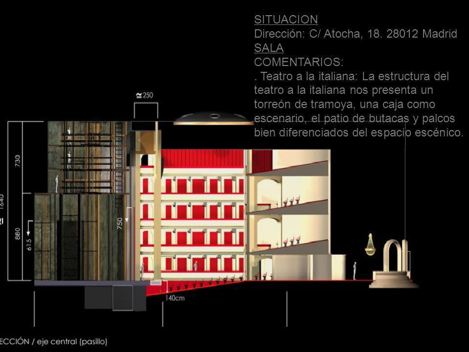 SITUACION Dirección: C/ Atocha, 18. 28012 Madrid SALA COMENTARIOS:. Teatro a la italiana: La estructura del teatro a la italiana nos presenta un torre