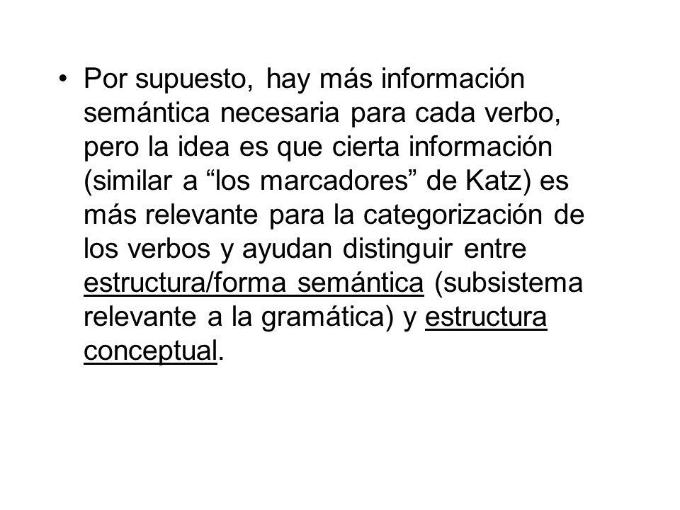 Por supuesto, hay más información semántica necesaria para cada verbo, pero la idea es que cierta información (similar a los marcadores de Katz) es má