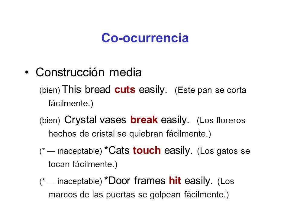 Co-ocurrencia Construcción conativa (bien) Margaret cut at the bread.