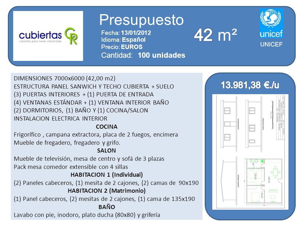 DIMENSIONES 7000x6000 (42,00 m2) ESTRUCTURA PANEL SANWICH Y TECHO CUBIERTA + SUELO (3) PUERTAS INTERIORES + (1) PUERTA DE ENTRADA (4) VENTANAS ESTÁNDA