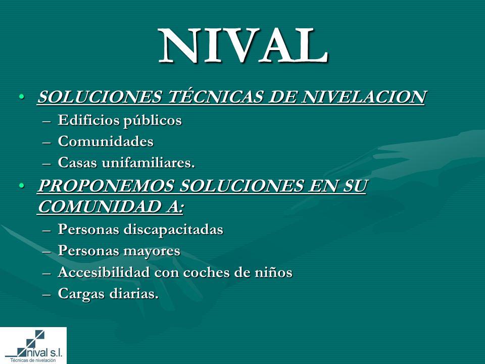 NIVAL SOLUCIONES TÉCNICAS DE NIVELACIONSOLUCIONES TÉCNICAS DE NIVELACION –Edificios públicos –Comunidades –Casas unifamiliares.