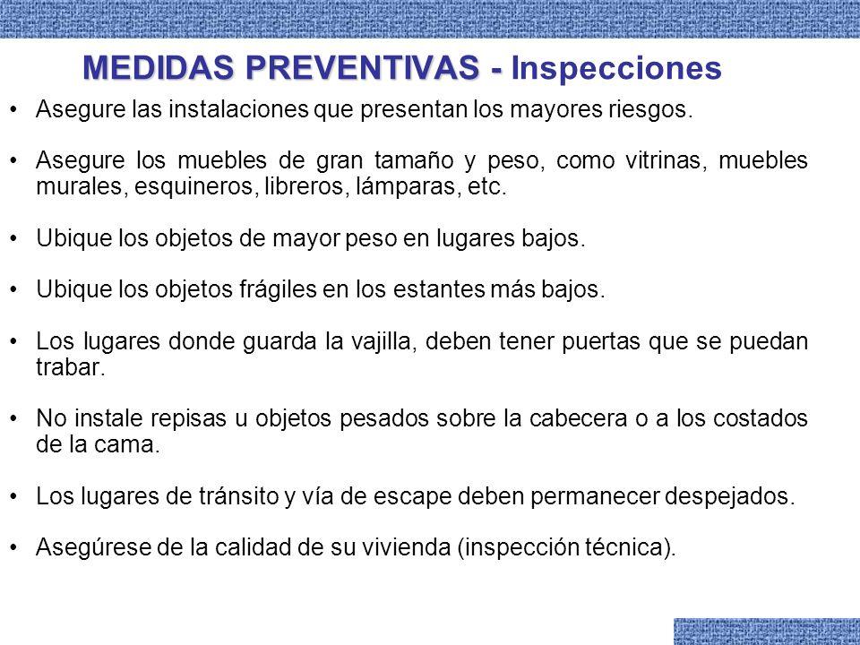 MEDIDAS PREVENTIVAS MEDIDAS PREVENTIVAS DETERMINACIÓN DE ZONAS DE SEGURIDAD Zonas de Mayor Seguridad Dinteles de las puertas.