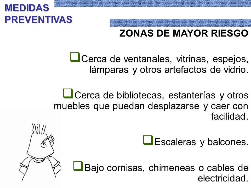 ZONAS DE MAYOR RIESGO Cerca de ventanales, vitrinas, espejos, lámparas y otros artefactos de vidrio. Cerca de bibliotecas, estanterías y otros muebles