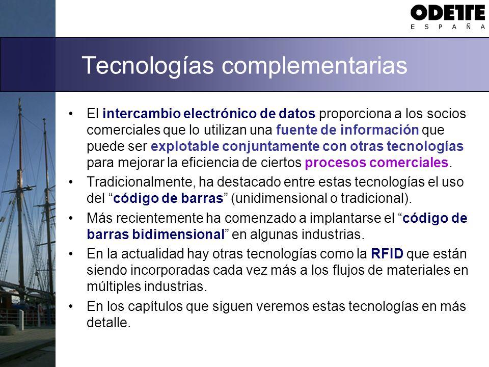 Tecnologías complementarias El intercambio electrónico de datos proporciona a los socios comerciales que lo utilizan una fuente de información que pue