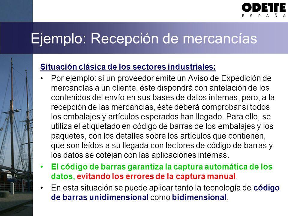 Ejemplo: Recepción de mercancías Situación clásica de los sectores industriales: Por ejemplo: si un proveedor emite un Aviso de Expedición de mercancí