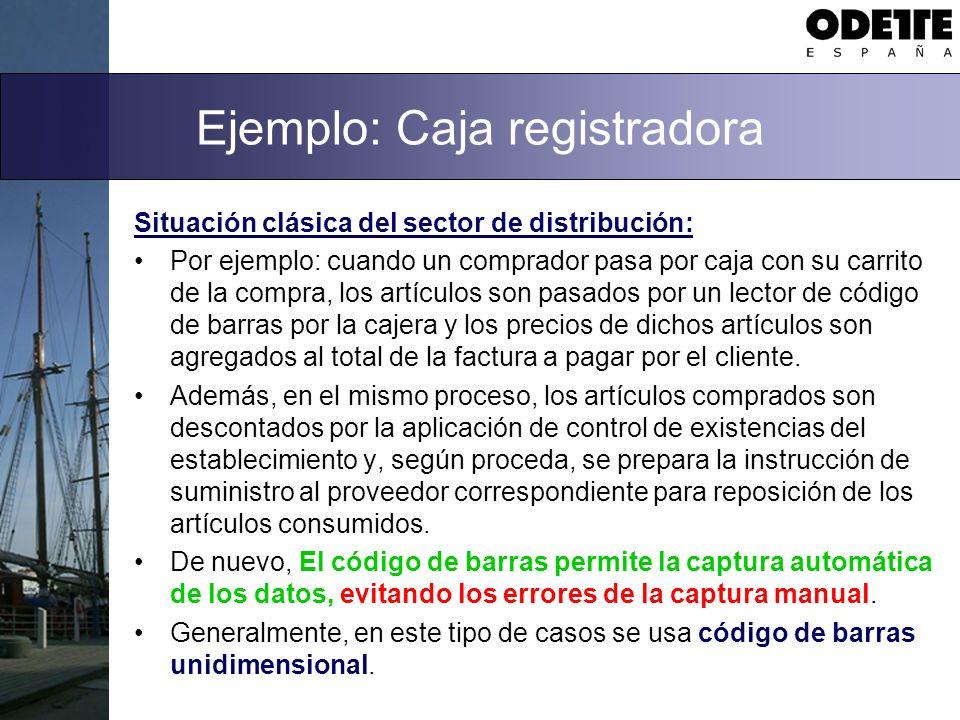Ejemplo: Caja registradora Situación clásica del sector de distribución: Por ejemplo: cuando un comprador pasa por caja con su carrito de la compra, l