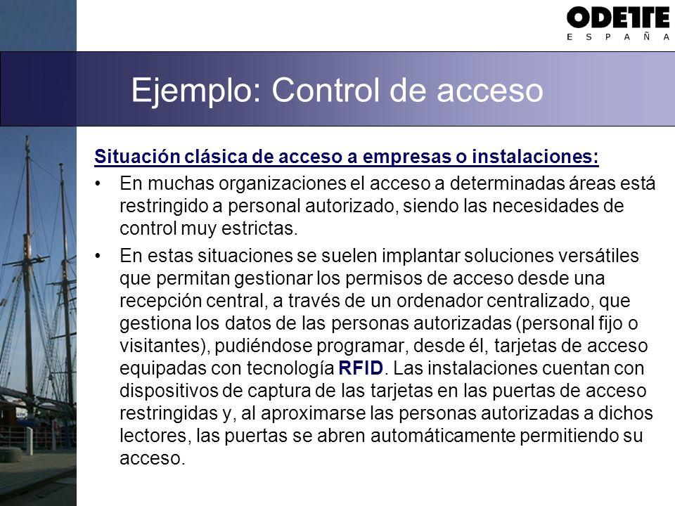 Ejemplo: Control de acceso Situación clásica de acceso a empresas o instalaciones: En muchas organizaciones el acceso a determinadas áreas está restri