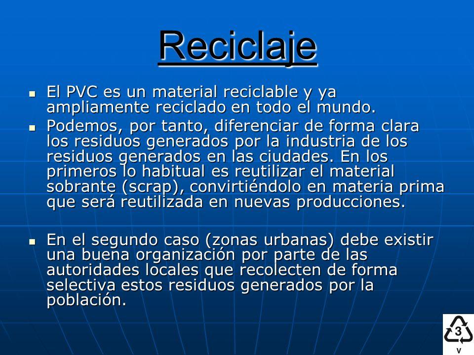 Reciclaje El PVC es un material reciclable y ya ampliamente reciclado en todo el mundo. El PVC es un material reciclable y ya ampliamente reciclado en