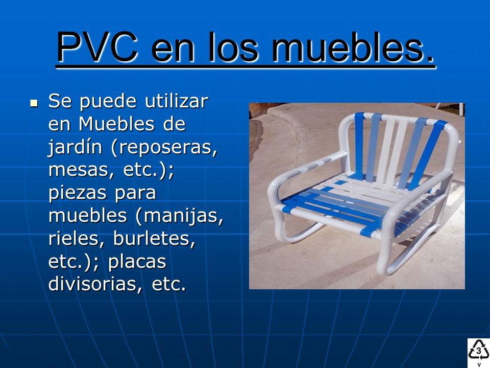 PVC en los muebles. Se puede utilizar en Muebles de jardín (reposeras, mesas, etc.); piezas para muebles (manijas, rieles, burletes, etc.); placas div