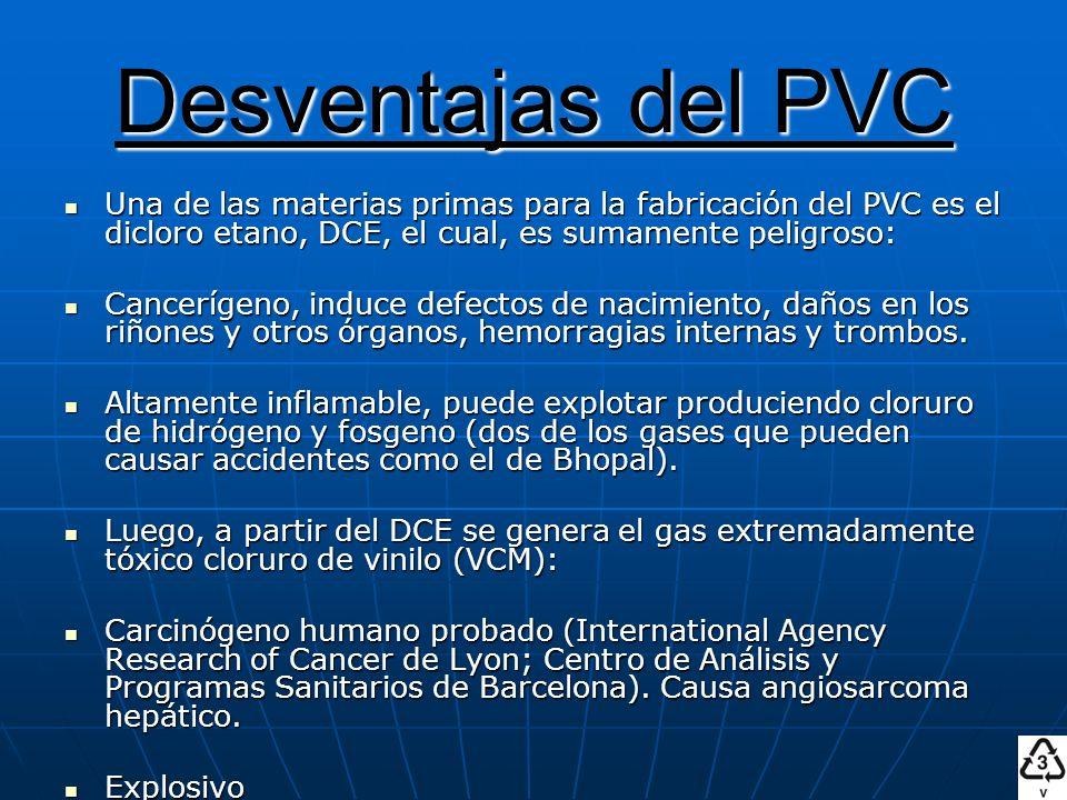 Desventajas del PVC Una de las materias primas para la fabricación del PVC es el dicloro etano, DCE, el cual, es sumamente peligroso: Cancerígeno, ind