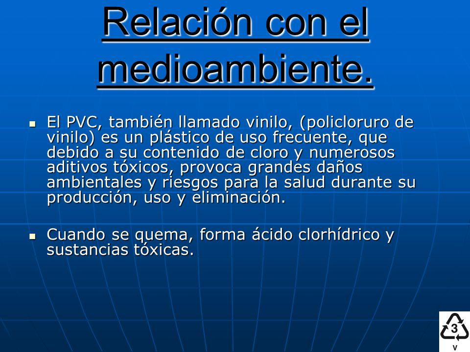 Relación con el medioambiente. El PVC, también llamado vinilo, (policloruro de vinilo) es un plástico de uso frecuente, que debido a su contenido de c