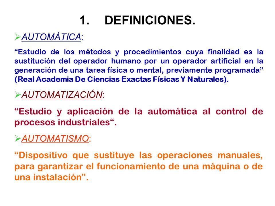 1.DEFINICIONES. AUTOMÁTICA: Estudio de los métodos y procedimientos cuya finalidad es la sustitución del operador humano por un operador artificial en