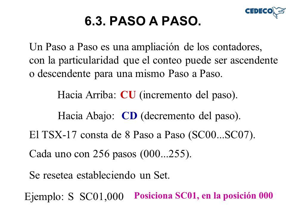 6.3. PASO A PASO. Un Paso a Paso es una ampliación de los contadores, con la particularidad que el conteo puede ser ascendente o descendente para una