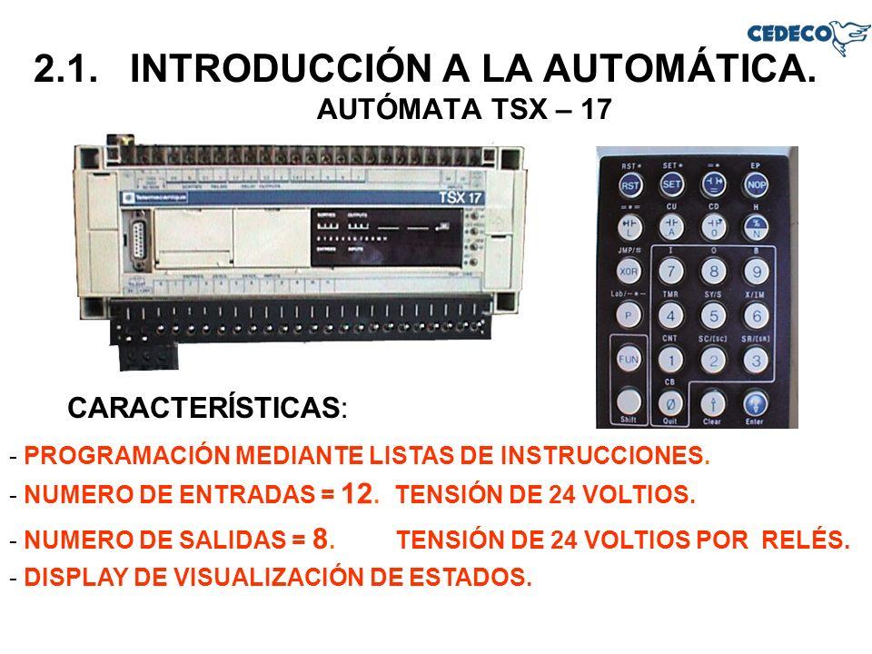 2.1. INTRODUCCIÓN A LA AUTOMÁTICA. AUTÓMATA TSX – 17 - PROGRAMACIÓN MEDIANTE LISTAS DE INSTRUCCIONES. CARACTERÍSTICAS: - NUMERO DE ENTRADAS = 12. TENS