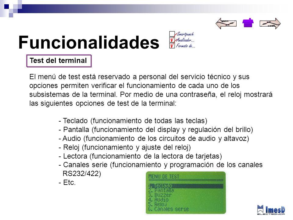 Test del terminal El menú de test está reservado a personal del servicio técnico y sus opciones permiten verificar el funcionamiento de cada uno de lo