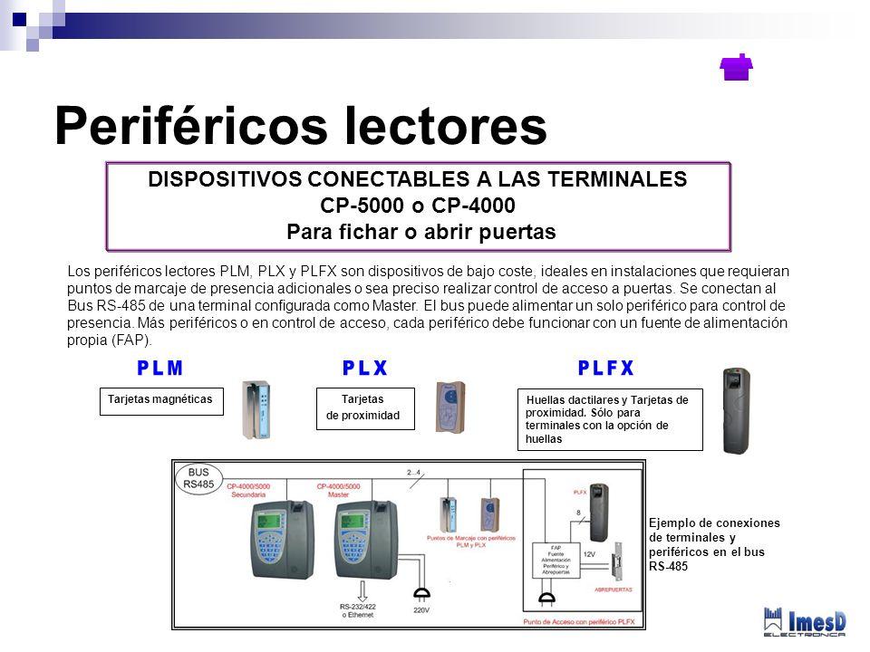 DISPOSITIVOS CONECTABLES A LAS TERMINALES CP-5000 o CP-4000 Para fichar o abrir puertas Los periféricos lectores PLM, PLX y PLFX son dispositivos de b