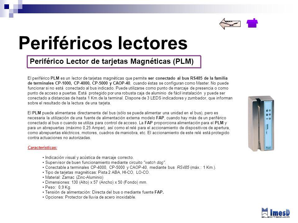 Periférico Lector de tarjetas Magnéticas (PLM) El periférico PLM es un lector de tarjetas magnéticas que permite ser conectado al bus RS485 de la fami
