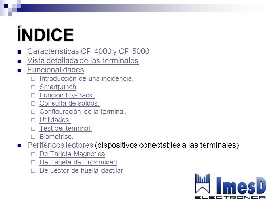 ÍNDICE Características CP-4000 y CP-5000 Vista detallada de las terminales Funcionalidades Introducción de una incidencia. Smartpunch Función Fly-Back