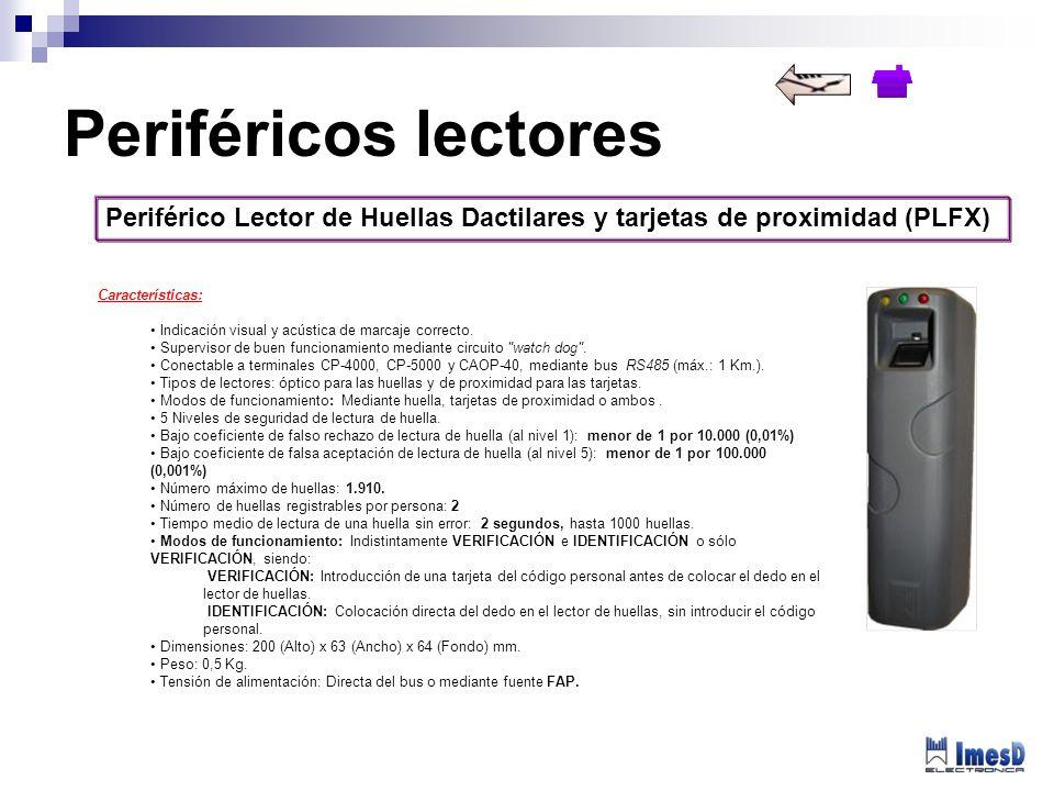 Periférico Lector de Huellas Dactilares y tarjetas de proximidad (PLFX) Periféricos lectores Características: Indicación visual y acústica de marcaje