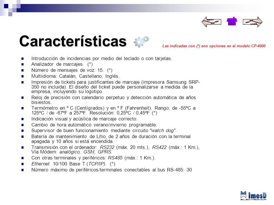 Introducción de incidencias por medio del teclado o con tarjetas. Analizador de marcajes. (*) Número de mensajes de voz: 15. (*) Multiidioma: Catalán,