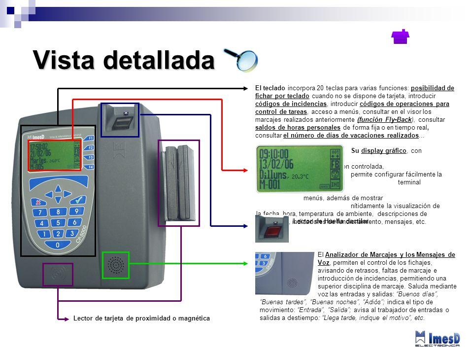 El Analizador de Marcajes y los Mensajes de Voz, permiten el control de los fichajes, avisando de retrasos, faltas de marcaje e introducción de incide