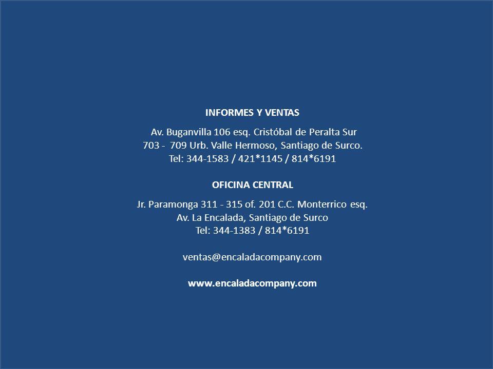 INFORMES Y VENTAS Av. Buganvilla 106 esq. Cristóbal de Peralta Sur 703 - 709 Urb. Valle Hermoso, Santiago de Surco. Tel: 344-1583 / 421*1145 / 814*619