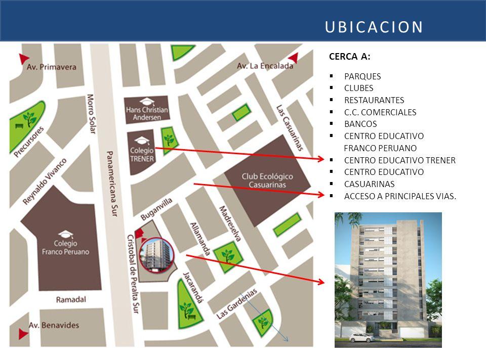 CERCA A: PARQUES CLUBES RESTAURANTES C.C. COMERCIALES BANCOS CENTRO EDUCATIVO FRANCO PERUANO CENTRO EDUCATIVO TRENER CENTRO EDUCATIVO CASUARINAS ACCES