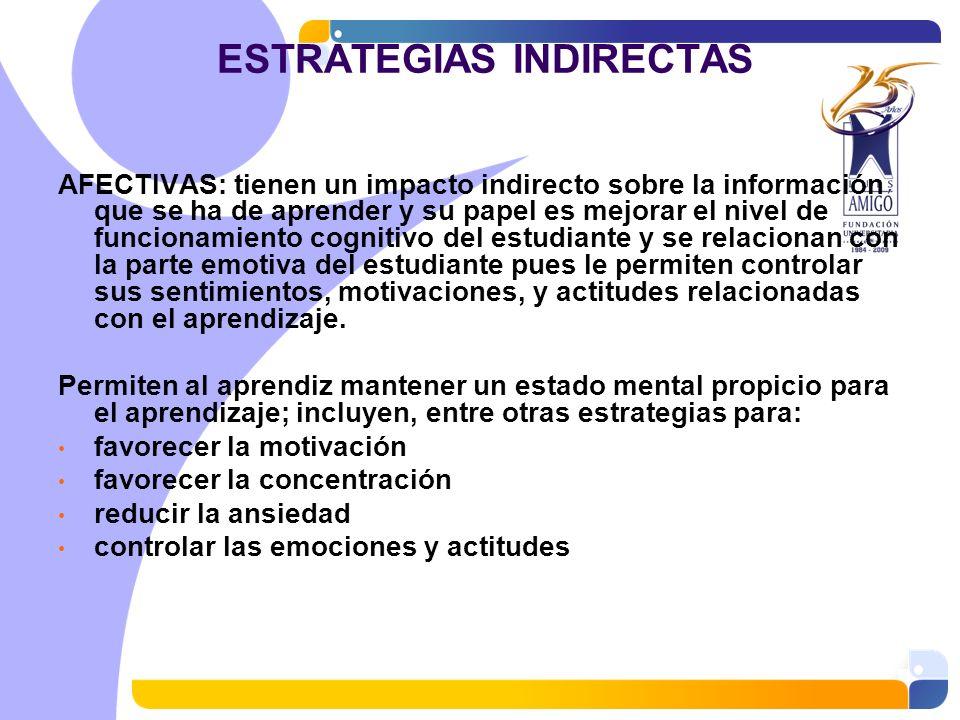 ESTRATEGIAS INDIRECTAS AFECTIVAS: tienen un impacto indirecto sobre la información que se ha de aprender y su papel es mejorar el nivel de funcionamie
