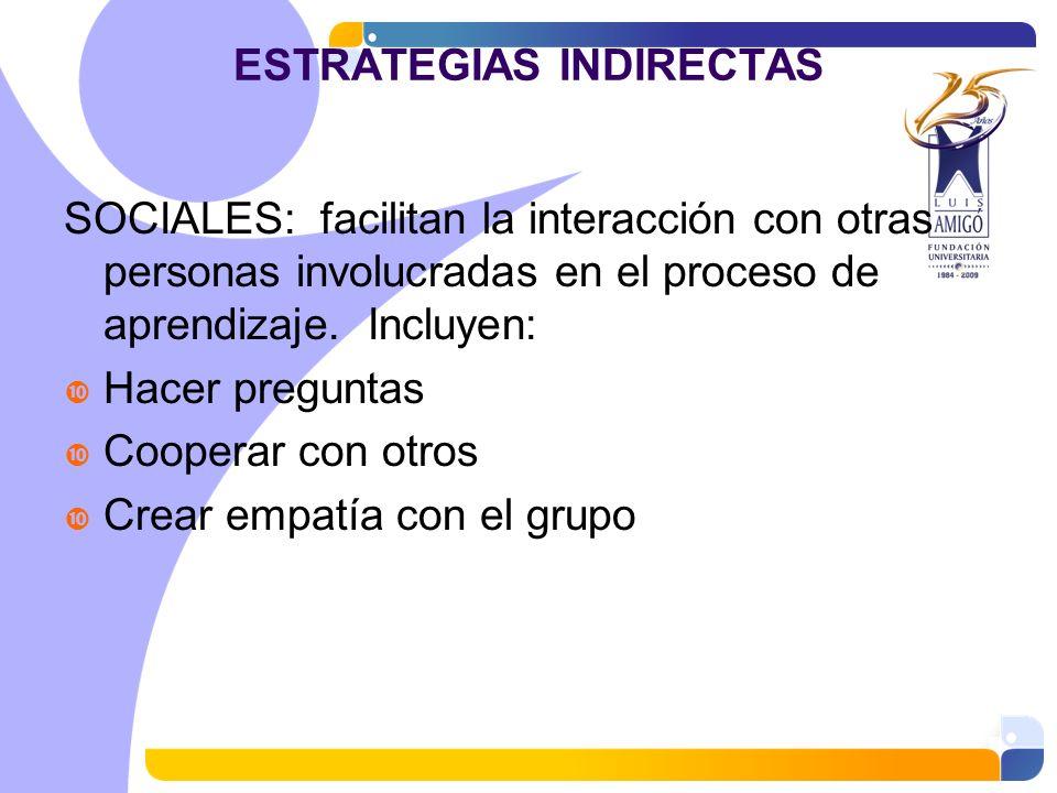 ESTRATEGIAS INDIRECTAS SOCIALES: facilitan la interacción con otras personas involucradas en el proceso de aprendizaje. Incluyen: Hacer preguntas Coop